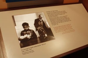 Display of an experiment conducted to investigate the effects of segregation on children in the museum section of the LRCHS National Historic Site. Black and white children favored white baby dolls over black dolls during a series of categorized tests.