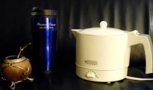Gourd for yerba maté, with bombilla, Bridwell Library thermos, water heater