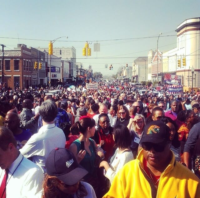 Pilgrims participated in the march across Edmund Pettus Bridge in commemoration of 'Bloody Sunday'