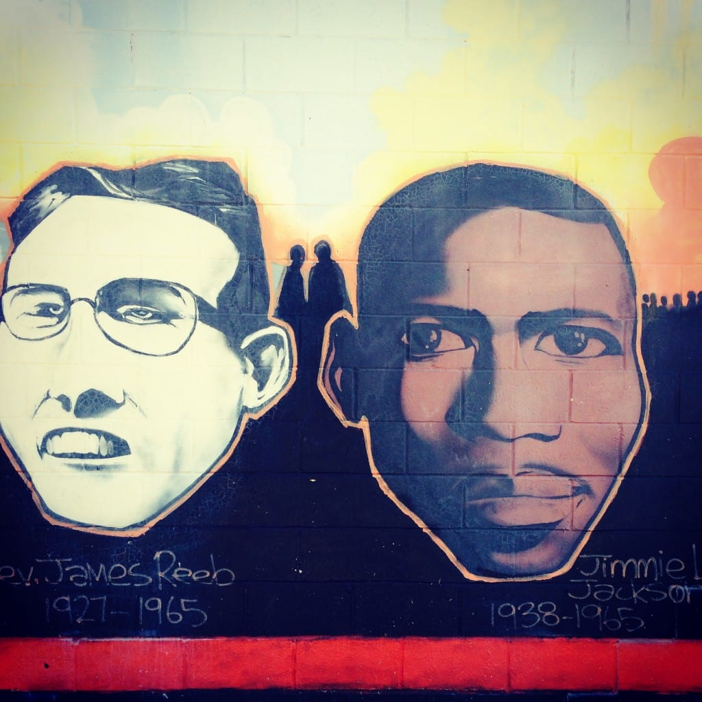 Civil rights mural featuring the Rev. James Reeb and Jimmy Lee Jackson, taken in Selma near the Voting Rights Museum.