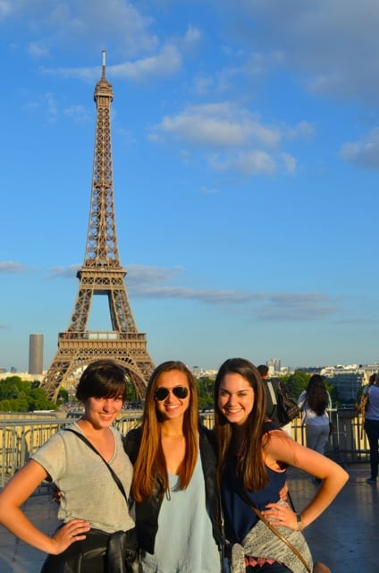 Dance majors Emily, Emily and Rene in Paris