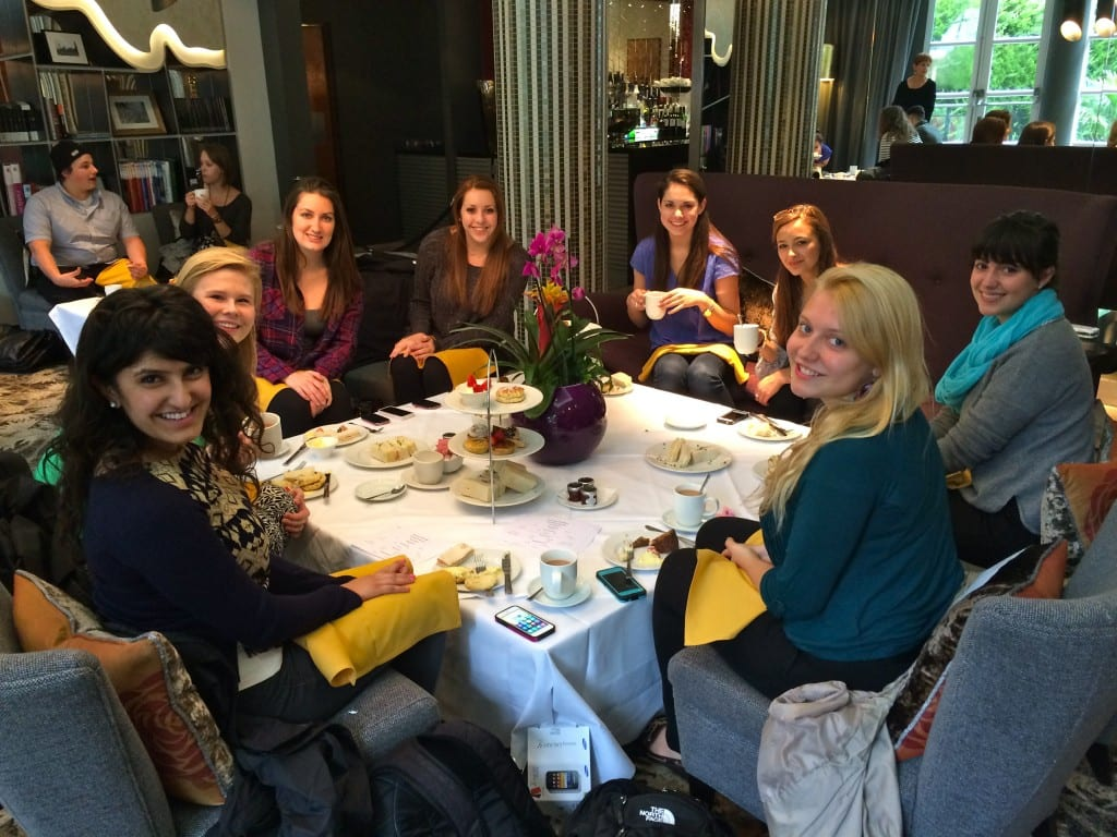 SMU-in-London Arts students at high tea. Photo credit: Melissa/SMU Adventures