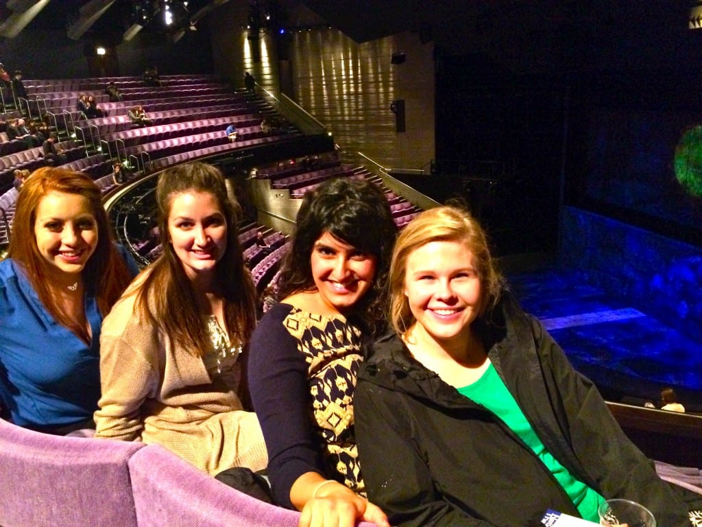 "Seeing ""King Lear"" at the Olivier Theatre: Melissa, a senior majoring in English with minors in psychology and education; Bailee, a senior majoring in applied physiology/ sport management; Aymen, a senior majoring in biology; Kate, a senior majoring in business, film and media. Photo credit: Melissa/SMU Adventures"