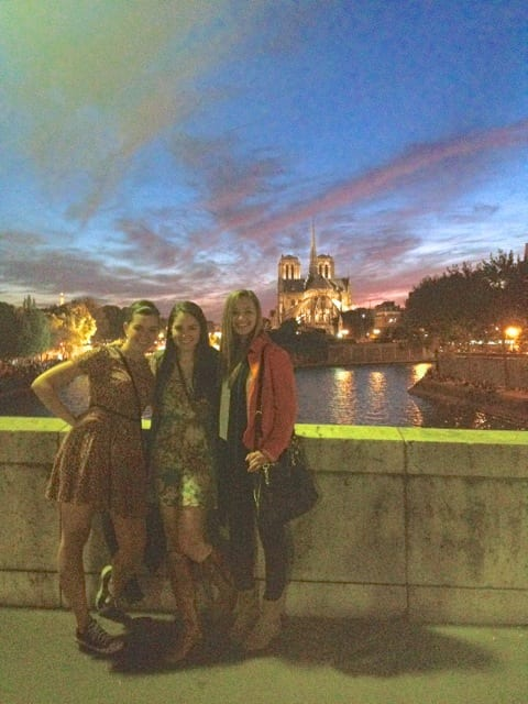 Dance majors Emily, Emily and Rene in Paris at sunset