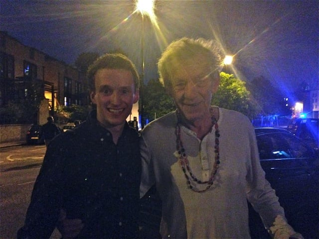 Sophomore theatre major Parker with Sir Ian McKellen