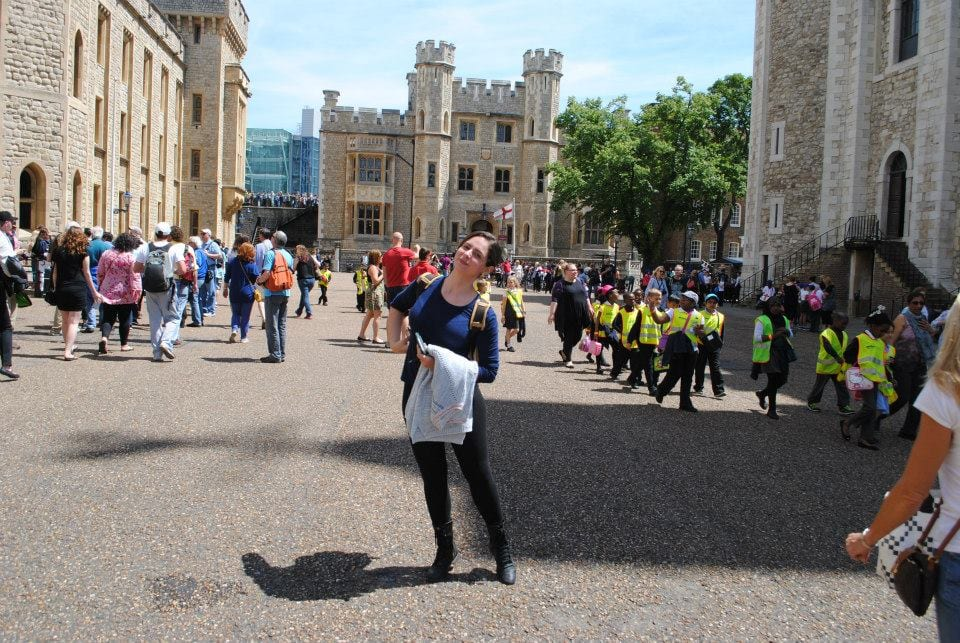 Stephanie, a senior majoring in theatre, at the Tower of London. Photo credit: Stephanie/SMU Adventures