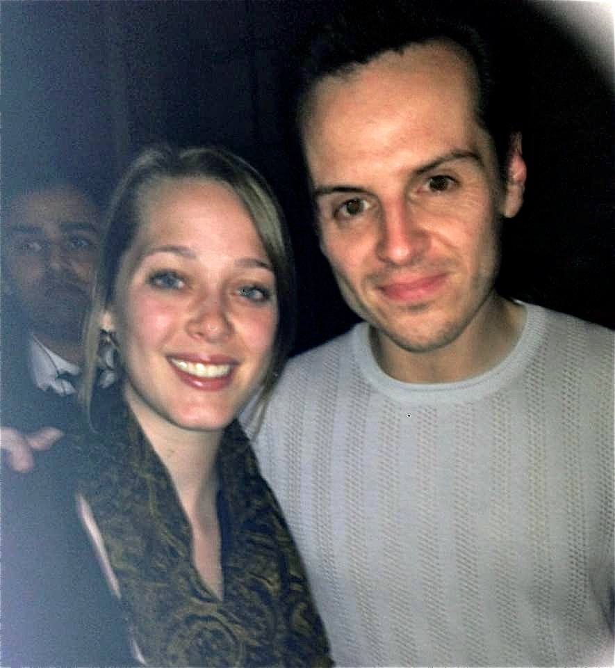 "Becca with actor Andrew Scott (a.k.a. Moriarity in the PBS series ""Sherlock"") after his performance in Birdland at the Royal Court Theatre. Photo credit: Becca/SMU Adventures"