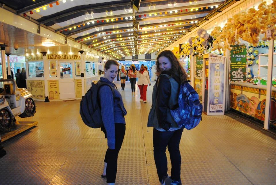 Becca and Steph in the Brighton Pier tunnel. Photo credit: Jenna/SMU Adventures