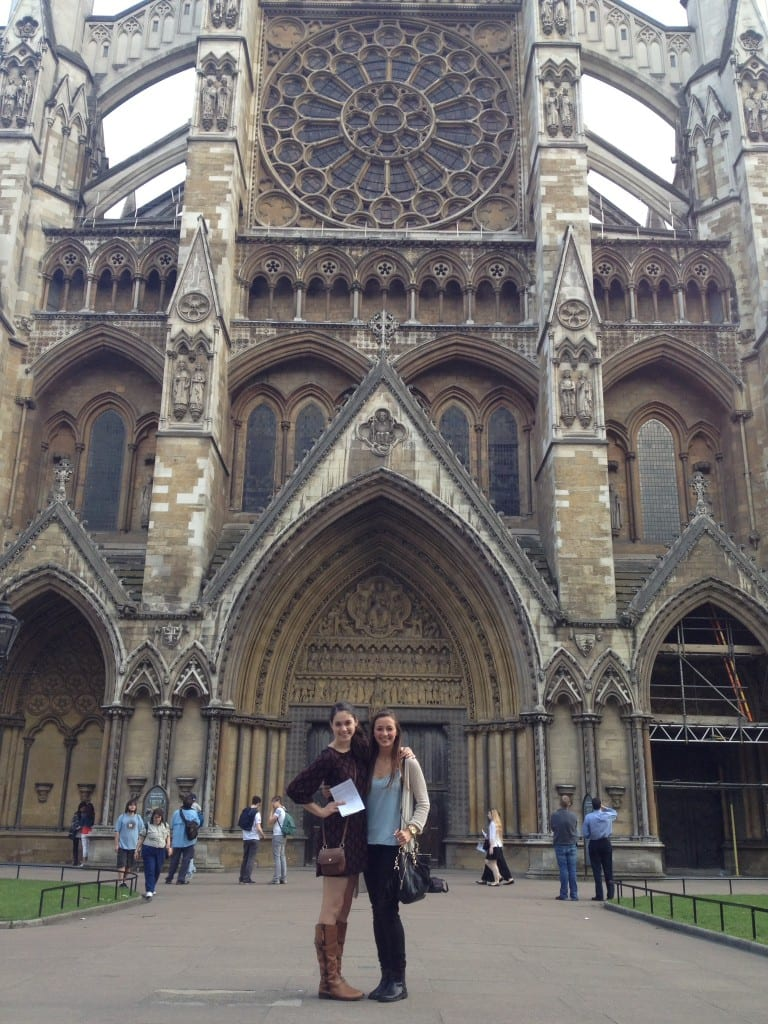 Emily (left) (BFA Dance '16) and Rene' (BFA Dance '17) after the evening service at Westminster Abbey. Photo credit: Emily/SMU Adventures