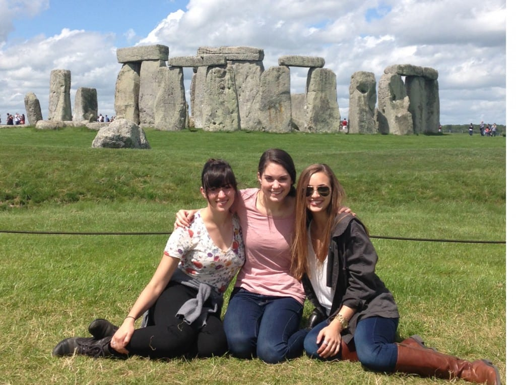 Sophomore dance majors Emily, Emily and Rene at Stonehenge.