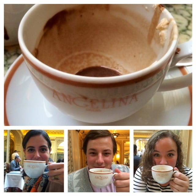 "Theatre majors Stephanie, a senior; Ryan ""RP,"" a senior; and Jenna, a junior; enjoyed a final jaunt to Paris and hot chocolate at Angelina's."