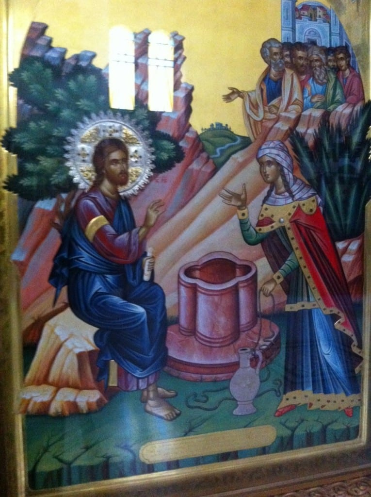 The icon, painted by Father Justinos, which tells the story of Jesus' encounter with the Samaritan woman at Jacob's Well.