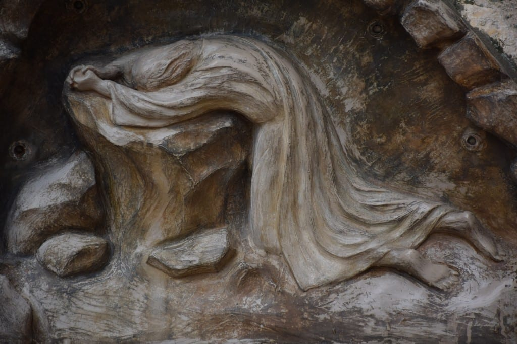 A carving depicting the agony of Jesus in the Garden of Gethsemane.