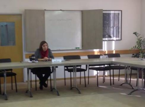 Research fellow Dr. Marcie Lenk leads class at the Shalom Hartman Institute.