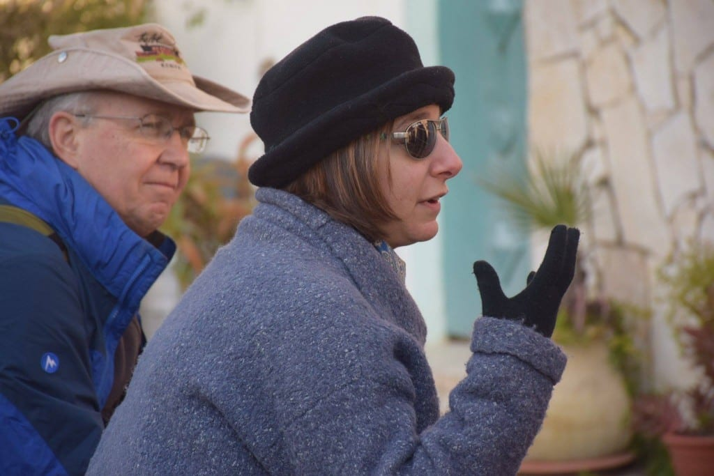 Shalom Institute research fellow Dr. Marcie Lenk and Dr. Robert Hunt engage students and alums during a walking tour of Jerusalem.