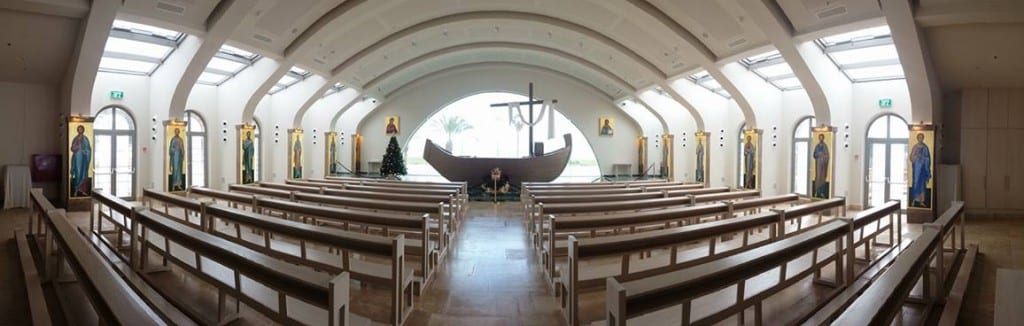 The sanctuary of the Catholic Church, dedicated to the women in Jesus' Ministry - including Mary Magdalene, who was from the town of Magdala - located next to the Migdal Synagogue dig site. Beyond the boat-shaped altar is a view of the Sea of Galilee. Photo by Sungmoon Lee
