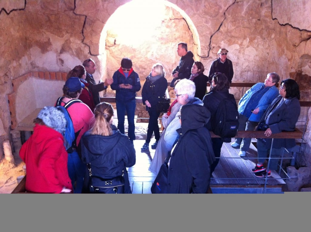 Members of the Perkins Palestine-Israel immersion group explore the large bathhouse, part of the vast Masada compound. Photo by Connie Nelson