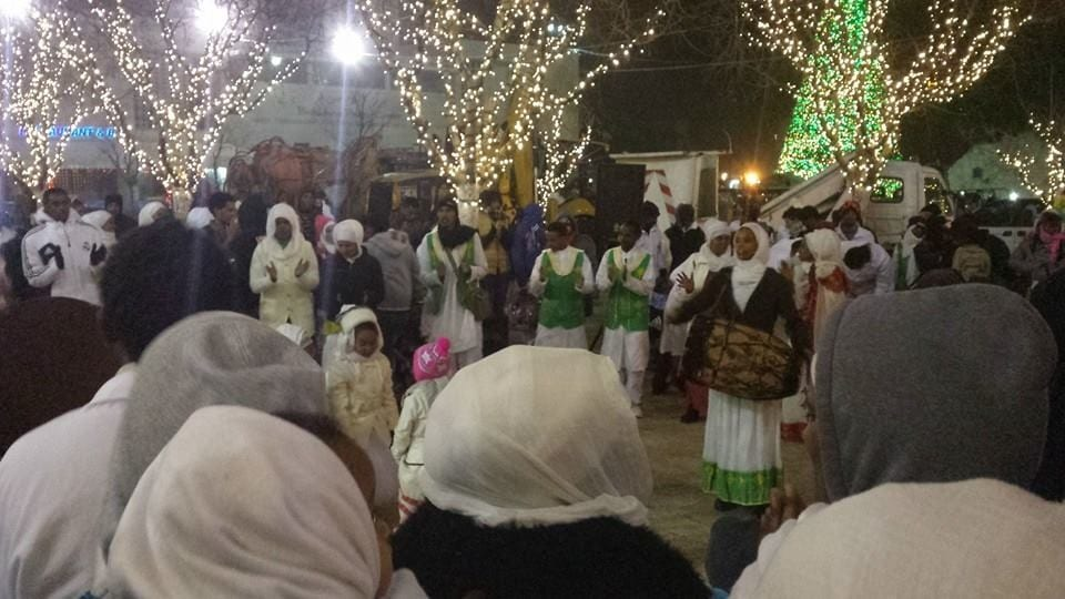 Orthodox Ethiopian Christians, pilgrims to Bethlehem on Orthodox Christmas Eve, filled Manger Square with drums, music, song, and dance. Photo by Sungmoon Lee