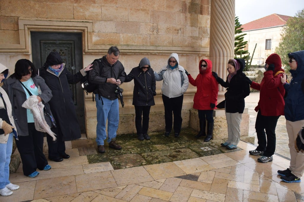 Perkins M.Div. student Bill Ball (center) leads members of the group through a meditation on the Transfiguration of Jesus outside the Basilica of the Transfiguration on Mt. Tabor. Photo by Connie Nelson.