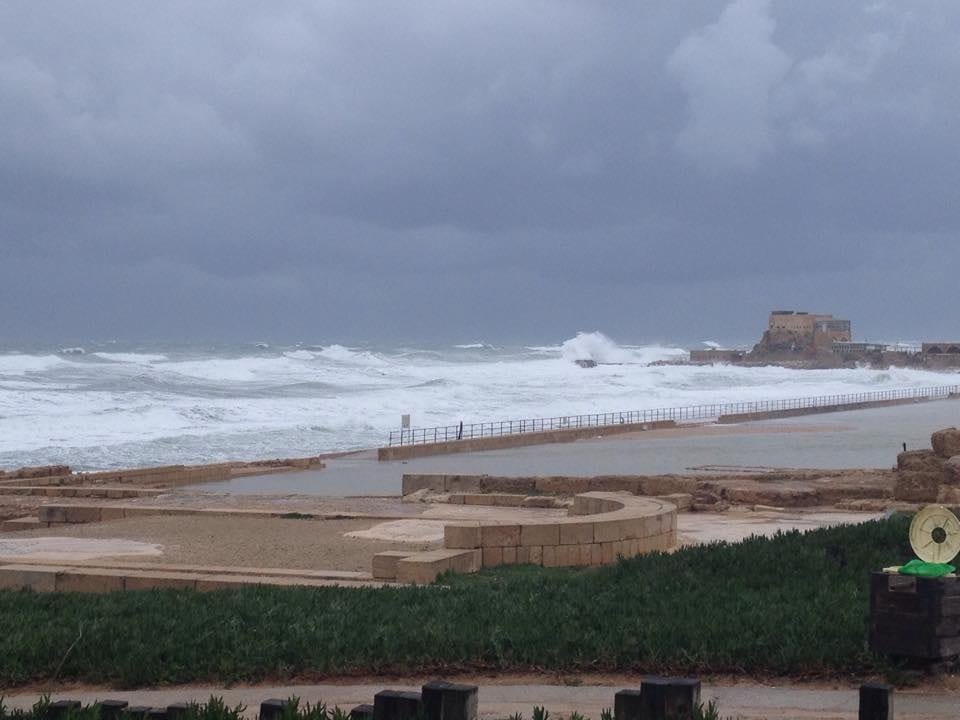 Waves crash on the remains of Caesarea Maratima, once a major port city. Photo by Connie Nelson.