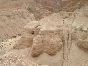 Cave #4 at Qumran, site of the discovery of the Dead Sea scrolls. Photo by Jaime Clark-Soles
