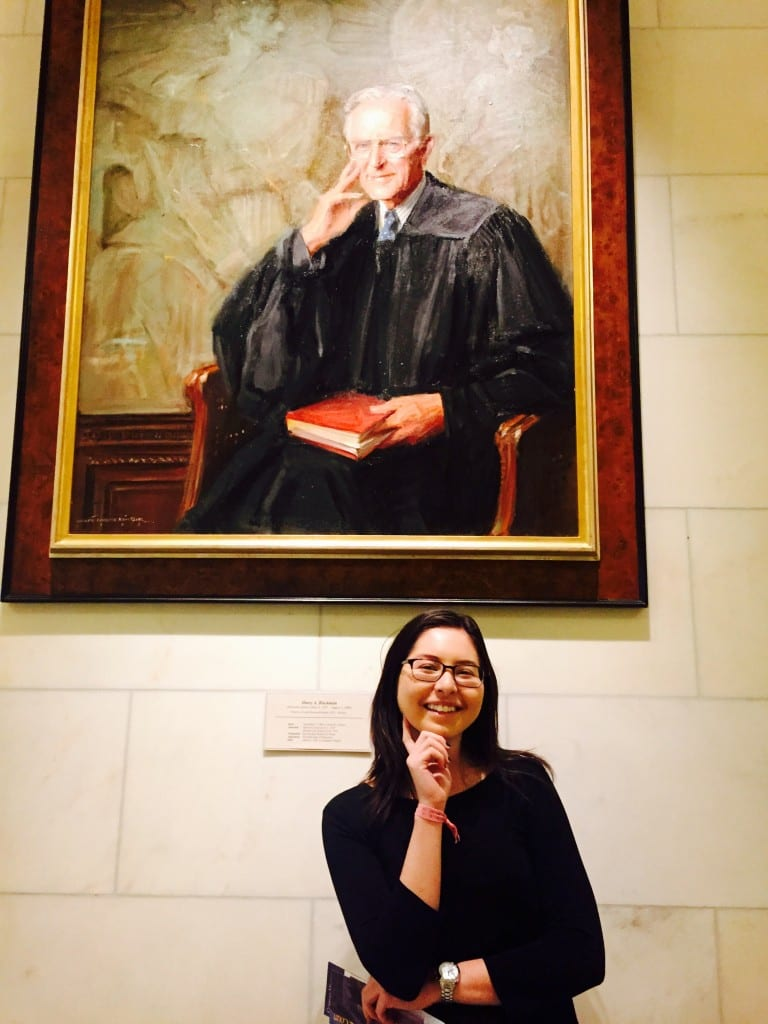Posing with the subject of my research, Justice Harry A. Blackmun, in the Supreme Court