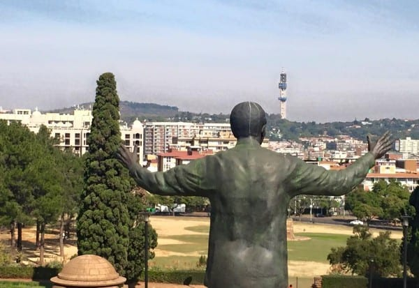 The Nelson Mandela monument overlooks the city of Pretoria.