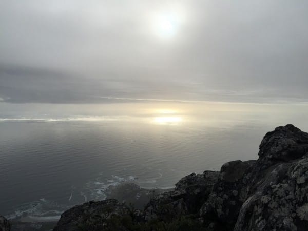 The view from the top of Table Mountain overlooking the Atlantic Ocean in Cape Town, South Africa.