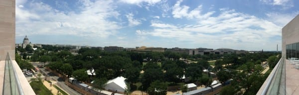 Panoramic view of the National Mall from one of the Gallery's staff dining areas