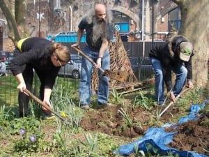 A few of the Castlehaven members during a gardening class