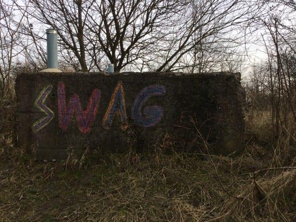 Graffiti on Płaszów site