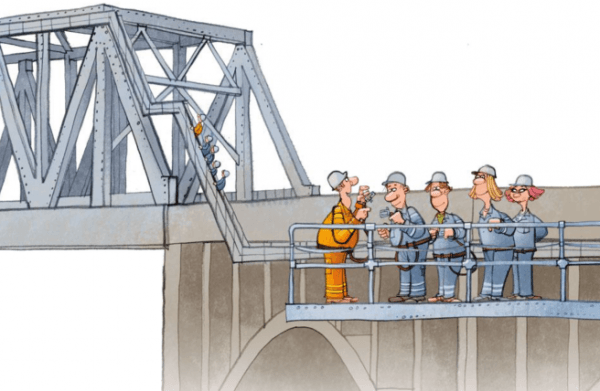 This illustration demonstrates how we were fastened to the side of an 80-year-old bridge for the experience of a lifetime. Image courtesy of bridgewalking.com