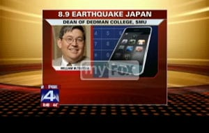 William Tsutsui on FOX 4 News in the aftermath of the Japan earthquake and tsunami March 11, 2011