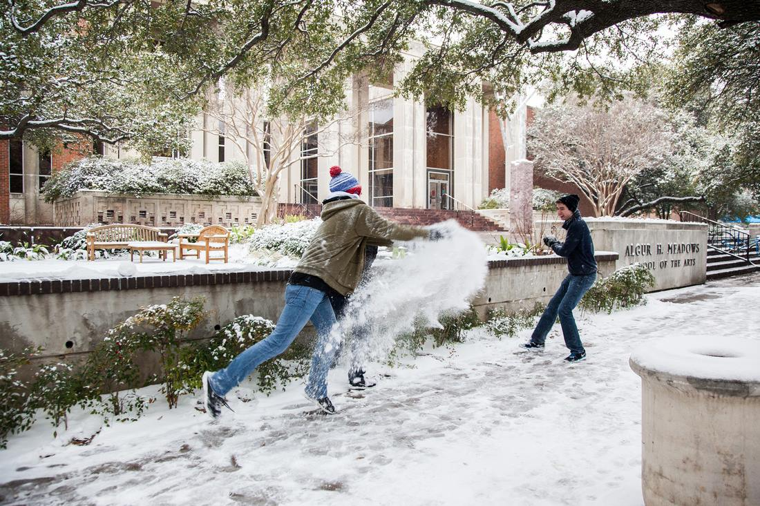 Kim Leeson captured this shot after blankets of snow fell at SMU