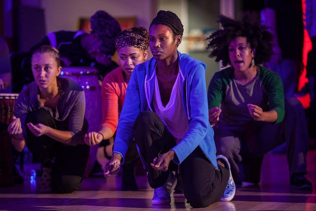 Scene from the Jawole Zollar Dance Workshop in the Taubman Atrium (Photo by Kim Leeson)