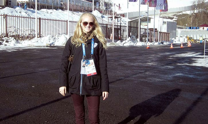 Meadows grad Morgan Beckwith at Sochi, with the slopestyle event area in the background.