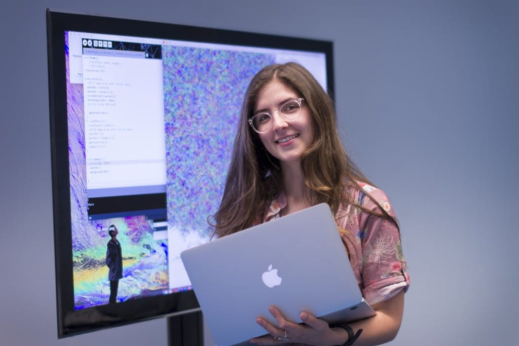 A double major graduating in May 2015 with a B.F.A. in art and a B.A. in creative computing, Habeck is in an unusual position: Last winter, she applied to four top graduate schools and all four accepted her.