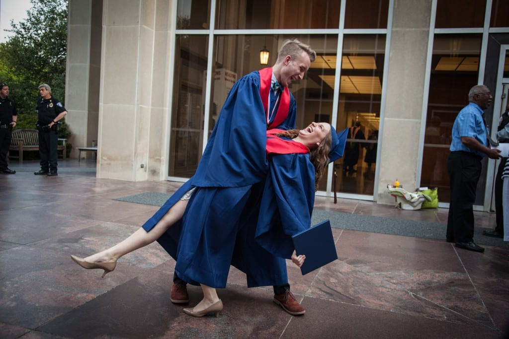 A moment of joy at Meadows 2015 Commencement (photo by Kim Leeson)