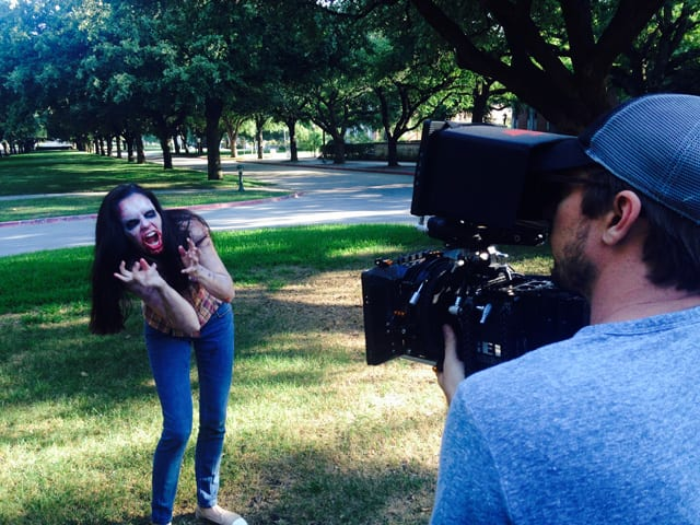 Director of Photography Jake Wilganowski on the boulevard with zombie Sarah