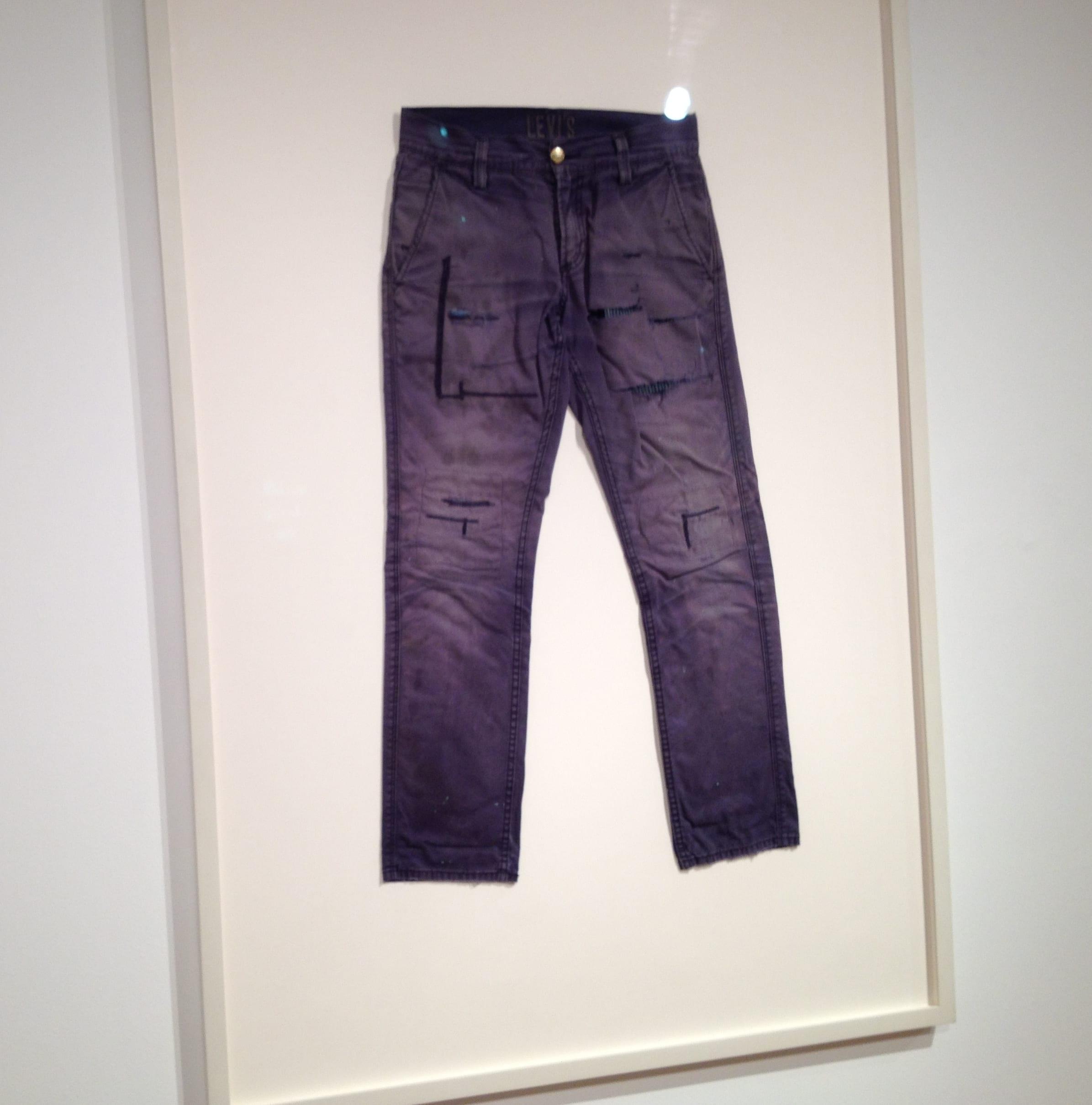Visiting Professor Travis LaMothe's Hard Rock Cafe, 2015. Pants, frame, 57 x 40 inches.