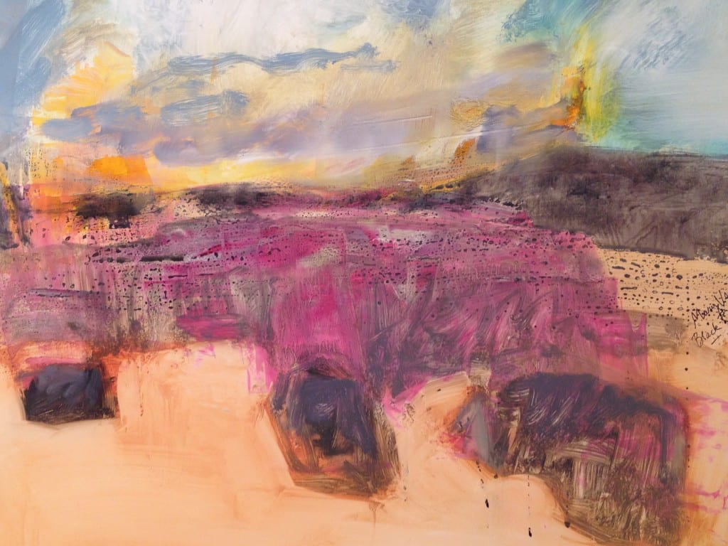 Detail from Black Rock Mesa, 2015 by Mary Vernon, professor of art and Altshuler Distinguished Teaching Professor. Oil and ink on Yupo, 26 x 80 inches. Courtesy of the artist and Valley House Gallery.
