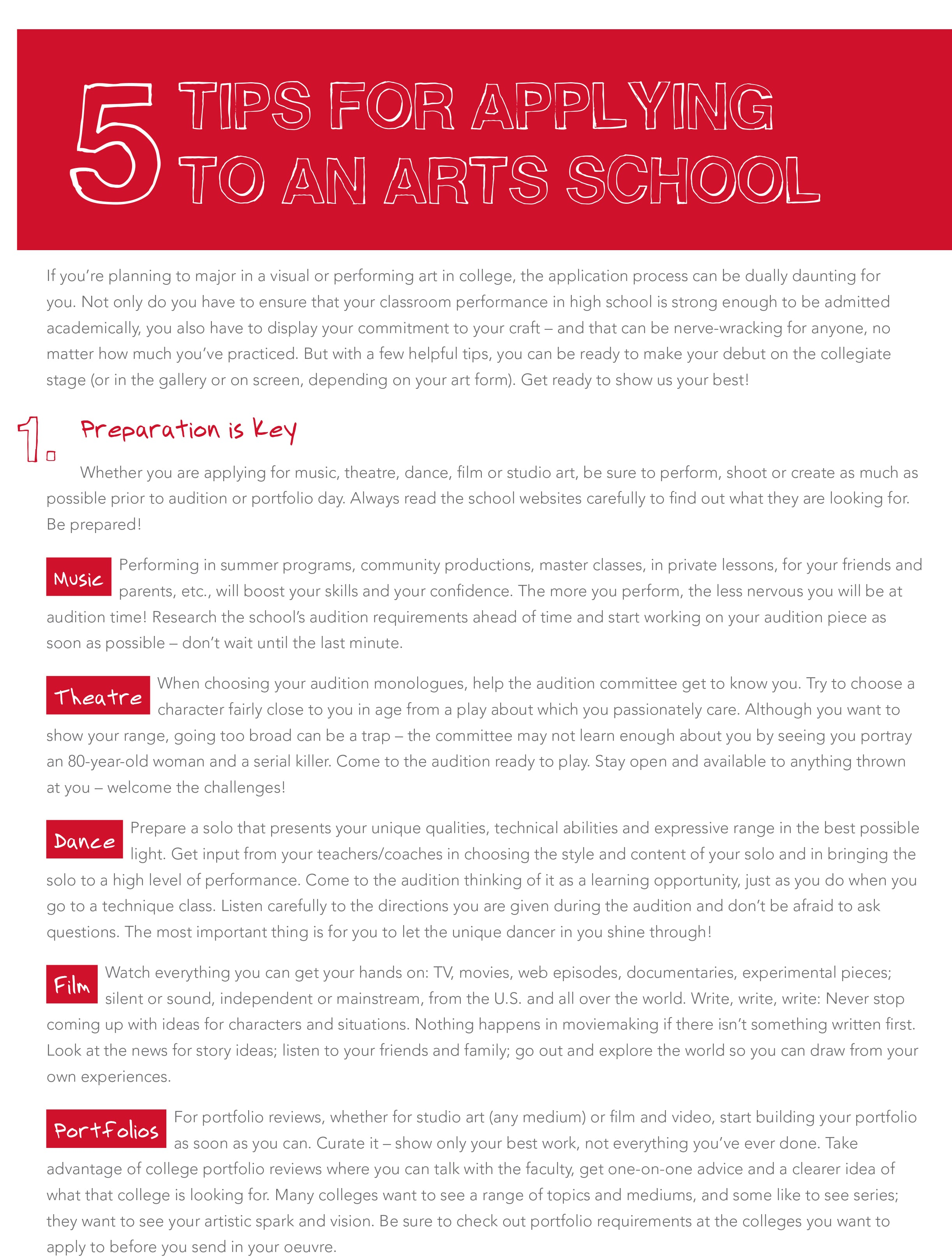 Infographic: Five Tips for Applying to Arts School – SMU Meadows