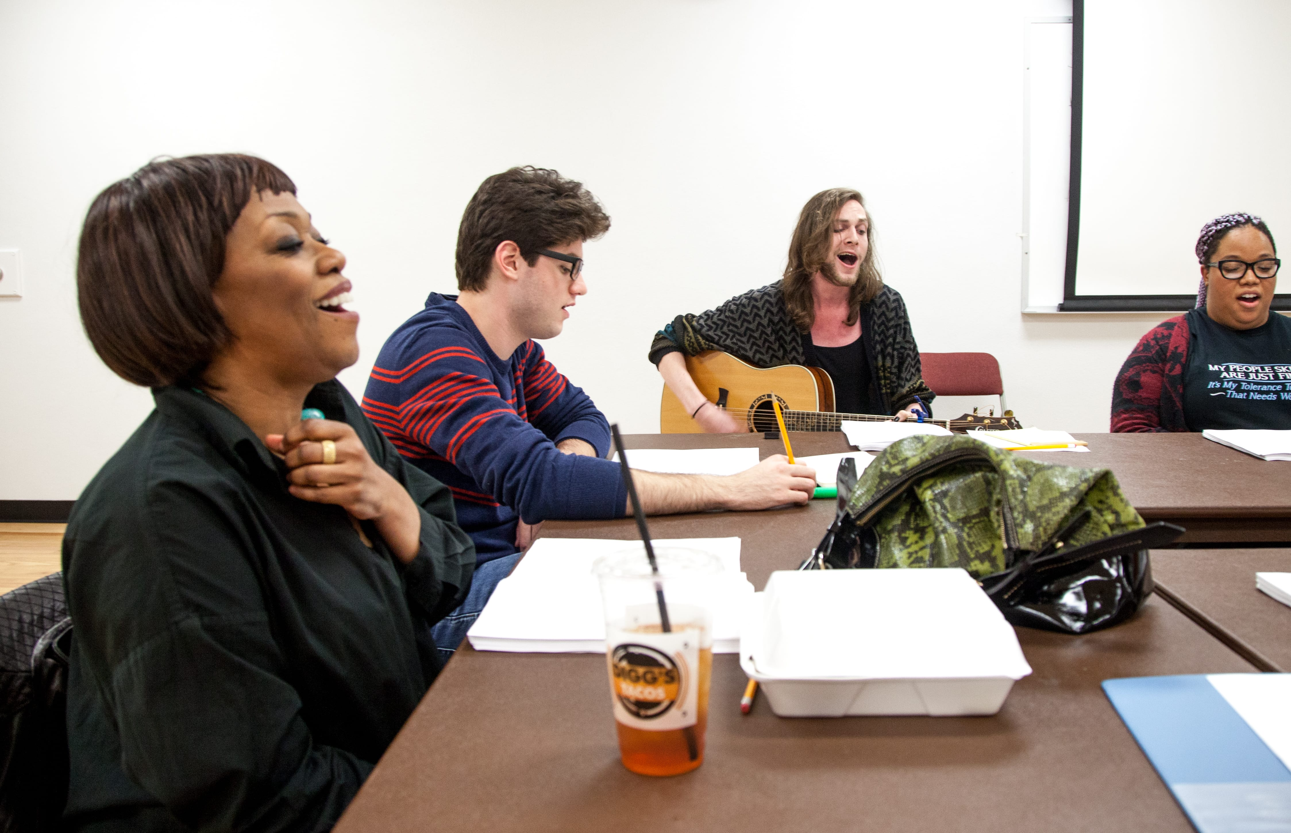 "<a href=""https://www.smu.edu/AboutSMU/ProminentAlumni"">Regina Taylor</a>, Meadows alum and award-winning actress and playwright, led a workshop of ""Magnolia."""