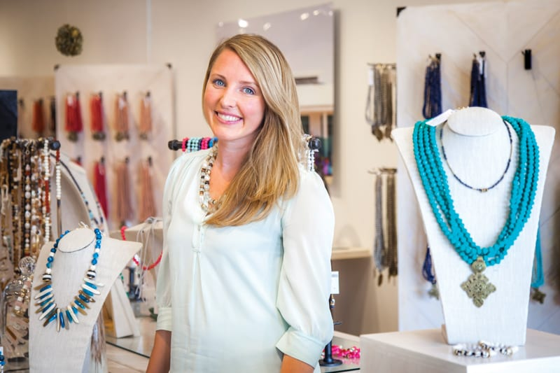 At her flagship Akola store near SMU, Brittany Merrill Underwood '06 showcases jewelry created by women in Uganda through the Akola Project. The sustainable impact program has empowered the lives of hundreds of women.