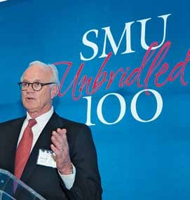 Albon  O. Head, Jr. '68, '71, co-chair, shares information with SMU constituents at the April 28 kickoff celebration of the Campaign Steering Committee for Fort Worth