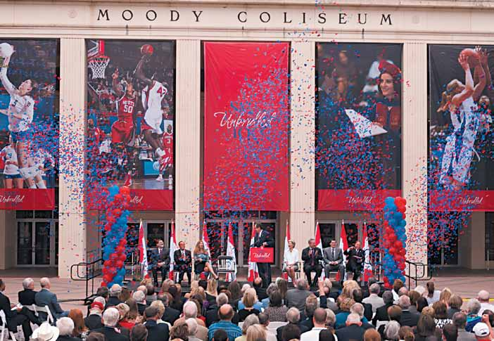 The SMU community celebrated the announcement of a $20 million gift from the Moody Foundation to support the extensive renovation and expansion of Moody Coliseum. The April 20 ceremony took place in front of the iconic building, an SMU and Dallas landmark.
