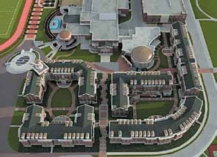 The rendering of SMU's new Residential Commons complex shows the five buildings and dining facility that will comprise the complex, to be located adjacent to the Dedman Center for Lifetime Sports and Ford Stadium and near the George W. Bush Presidential Center.