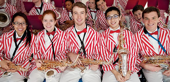 """The Mustang Band provided spirited musical entertainment as part of the midday """"Centennial Celebration"""" Friday."""