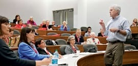 """Michael L. Davis, clinical professor in Cox School of Business, taught a class titled """"The End of the World as We Know It? Comparing the U.S. and E.U. Financial Crises,"""" as part of Inside SMU, an afternoon of informal classes for alumni and donors offered Friday."""