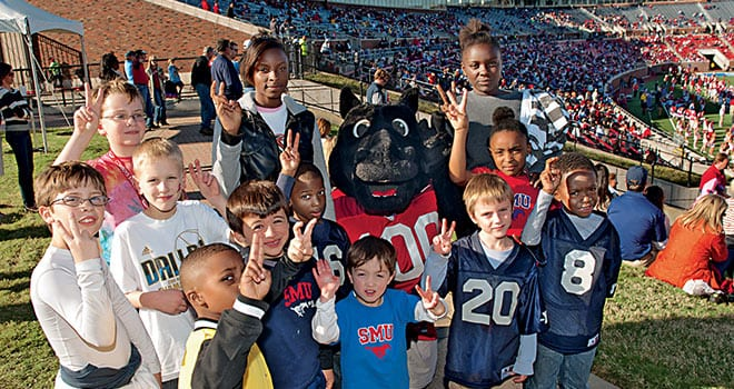 Children's activities – including photos with Peruna – will be featured as part of Mustang Fan Fair with the Mustang football team and the Meadows Museum Open House, both slated for Founders' Day Weekend Saturday, April 20. For more information and to register, please visit smu.edu/foundersday.